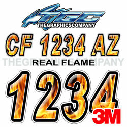 Flame Custom Boat Registration Numbers Decals Vinyl Lettering Stickers Uscg