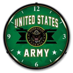New United States Army Backlit Lighted Retro Clock - We Pay The Shipping