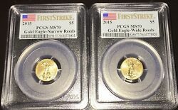 2015 Narrow Reeds And Wide Reeds Variety Set 5 American Gold Eagle Pcgs Ms70 Fs