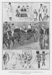 Visit Of The King And Queen Of Italy To London - Antique Print 1903