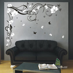 Butterfly Flowers Wall Art Stickers Family Tree Wall Decals Stickers -- Pd10
