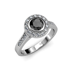 Black And White Diamond Si2-i1 G-h Halo Engagement Ring 1.46 Ct Tw In 14k Gold