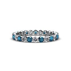 Floating Blue And White Diamond Womens Eternity Ring 1.33 Ctw 14k Gold Jp47667