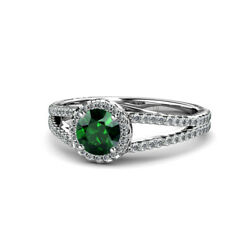 Emerald And Diamond Womens Halo Engagement Ring 1.13 Ctw 14k Gold Jp54477