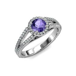 Iolite And Diamond Si2-i1, G-h Halo Engagement Ring 1.38 Ct Tw In 14k Gold