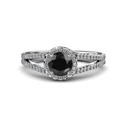 Black And White Diamond Si2-i1 G-h Halo Engagement Ring 1.50 Ct Tw In 14k Gold