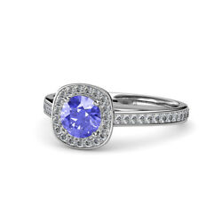 Tanzanite And Diamond Si2-i1 G-h Halo Engagement Ring 1.20 Ct Tw In 14k Gold