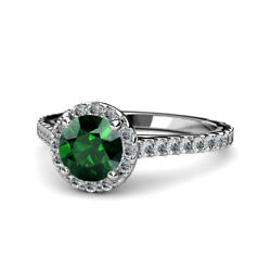 Emerald And Diamond Halo Engagement Ring 1.50 Ct Tw In 14k Gold Jp56013