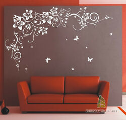 Butterfly Vine Flower Vinyl Wall Art Stickers Wall Decalswall Graphics---pd646
