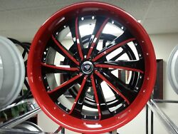 22 X 9.5 Black & Red #0016 Wheels Rims & Tires Fit 5X115 Offset 20 New Product
