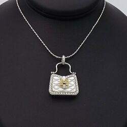 New 18K White Gold Designer H Purse Locket Pendant Diamond Chain Necklace Sz 17