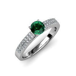 Emerald And Diamond Double Row Solitaire Plus Engagement Ring 14k Gold Jp58115