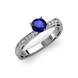 Blue Sapphire And Diamond Euro Shank Engagement Ring 1.05 Ct Tw 14k Gold Jp58244