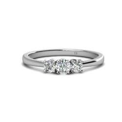 Diamond Three Stone Ring Si2-i1-clarity G-h-color 0.53 Ct Tw In 14k Gold
