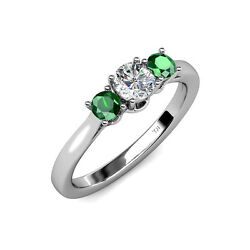 Diamond And Emerald Women 3 Stone Engagement Ring 0.94 Ct Tw In 14k Gold Jp41810