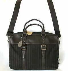 FOSSIL ESTATE BROWN STRIPE WOOL+LEATHER WORK BRIEFCASECROSS BODY+MESSENGER BAG