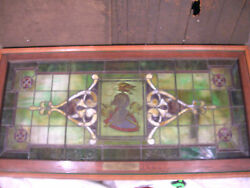 Knights Of Pythias Stained Glass Window In Custom Built Frame Huge 36 X 76 1/2