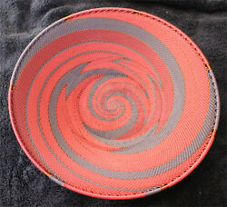 Plum Wine And Copper Handmade African Zulu Telephone Wire Basket/platter Large