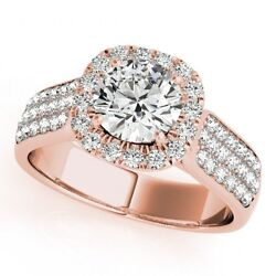 1.50 Ct White Clean Diamond 14k Rose Gold Beautiful Heavy Bridal Engagement Ring