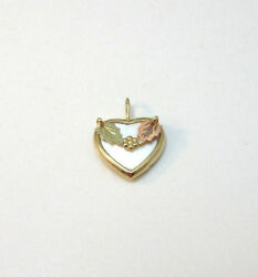 10k Yellow And Black Hills Gold Heart Mother Of Pearl Pendant