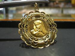 Fine Large 18 Karat Yellow Gold Our Lady Of Guadalupe Charm Virgin Mary Italy