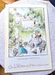 Poster Clos Du Val Winery Napa Switzerland Bottling Time By Ronald Searle 1983