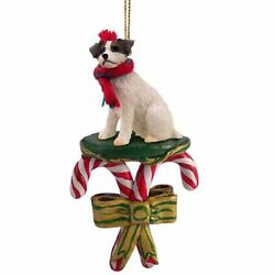 Jack Russell Terrier Brown Rough Dog Candy Cane Christmas Holiday Ornament