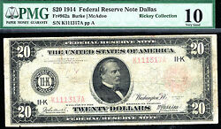 Fr 962a / 1914 20 Red Frn -dallas -23 Known Only Rare -pmg 10