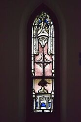 + Beautiful 95 Year Old Stained Glass Window + C.1918 + 8ns + + Chalice Co.