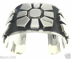 Taxco Mexican 925 Sterling Silver Striking And Heavy Flower Cuff Bracelet Mexico