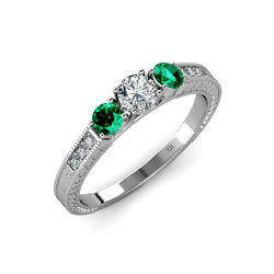 Diamond And Emerald 3 Stone Ring With Side Diamond 0.85 Cttw 14k Gold Jp72424
