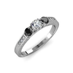 Black And White Diamond 3 Stone Ring With Diamond On Side Bar 0.85 Ct Tw 14k Gold