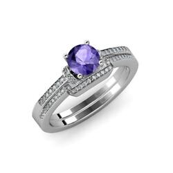 Iolite And Diamond Engagement Ring And Wedding Band 1.25 Ct Tw In 14k Gold Jp71535