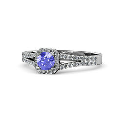 Tanzanite And Diamond Si2-i1g-h Halo Engagement Ring 1.08cttw 14k Gold Jp68720