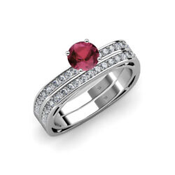 Rhodolite Garnet And Diamond Euro Shank Engagement Ring And Wedding Band In 14k Gold