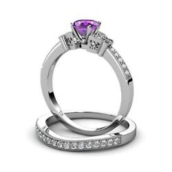 Amethyst And Diamond Engagement Ring And Wedding Band 14k Gold Jp70986