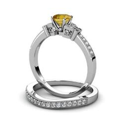 Citrine And Diamond 1.14 Ctw Engagement Ring And Wedding Band Set14k Gold Jp70992