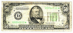 1934 50 Cleveland Ohio Star Federal Reserve Note Low Serial Number Rare