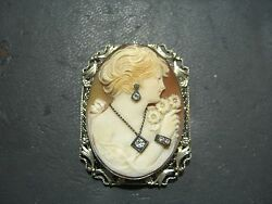 Gorgeous Vintage Handcarved Shell Cameo Brooch/pendant W/diamond-14k White Gold