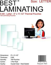 Best Laminating 5 Mil Letter Laminating 9 X 11.5 Inches - 100 Clear Pouches