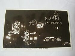 Piccadilly Circus London By Night Lighted Signs Vintage Photo Postcard  T