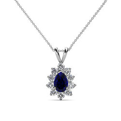Pear Blue Sapphire And Diamond Halo Pendant 1.03 Carat Tw In 14k Gold Jp77561
