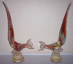 Murano Glass Gold Dust Mid-century Large Pair Rooster Figurines