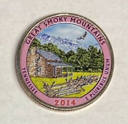 2014 G. Smoky Mountains Colorized America's Beautiful National Parks Quarter D