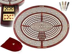 Oval Shape 4 Tracks Continuous Cribbage Board In Bloodwood + Skunks And Corners