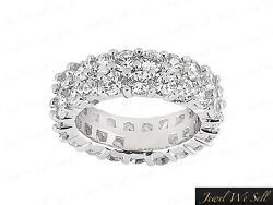 Natural 4.60ct Round Diamond Staggered 2row Eternity Band Ring 10k Gold G-h I1