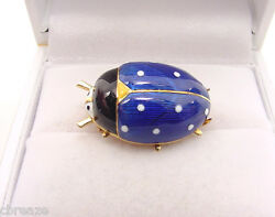 Rare Enameled Italy Vintage Lady Bug 18k Yellow Gold Clip Pin Brooch