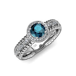 Blue And White Diamond Marquise Shank Halo Engagement Ring In 14k Gold Jp84628