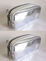 2 x bareMinerals Metallic Silver Faux Leather Top Zip Small Cosmetic Bag Lot $9.99