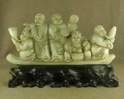 6old Large Carved Human Carving Chinese Antique Jade Musician Figure Statue